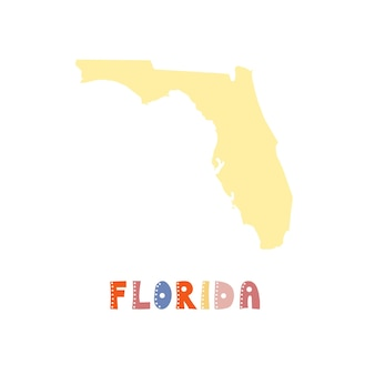 Florida map isolated. usa collection. map of florida - yellow silhouette. doodling style lettering on white