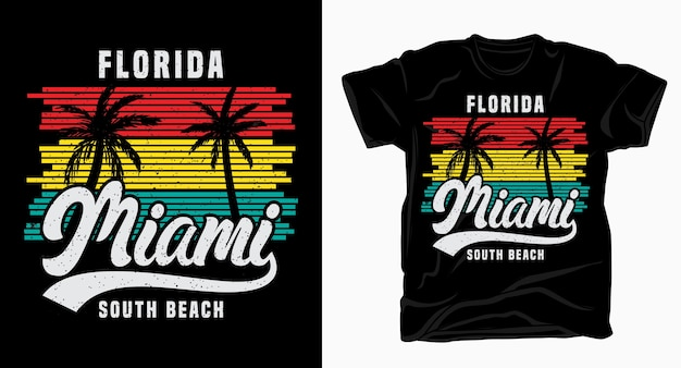 Florida miami south beach typography vintage with palm t shirt