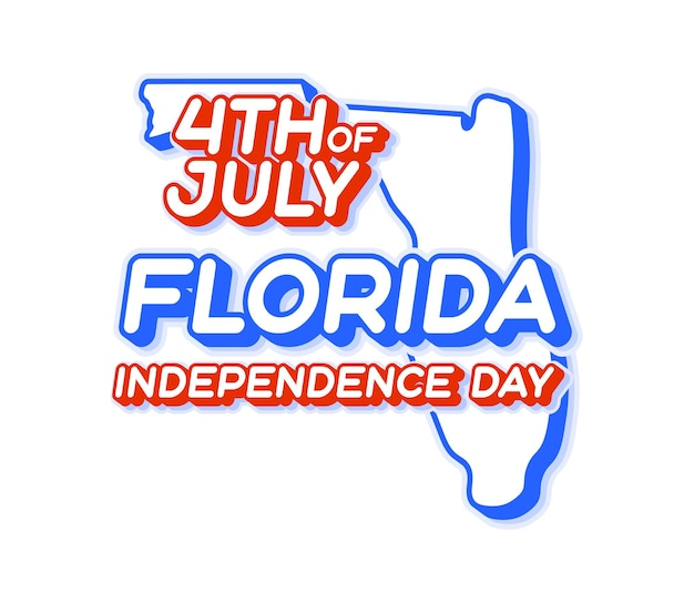 Florida state 4th of july independence day with map and usa national color 3d shape of us