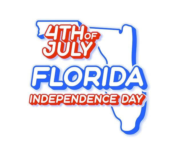 Штат флорида 4 июля в день независимости с картой и трехмерной формой сша национального цвета сша