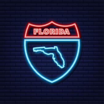 Неоновая иконка на карте штата флорида. векторная иллюстрация.