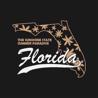 티셔츠 옷을 위한 플로리다 주 타이포그래피 그래픽