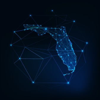 Florida state usa map glowing silhouette made of stars lines dots triangles, low polygonal shapes.