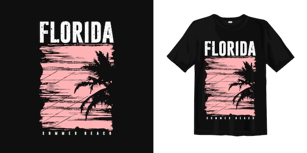 Florida summer beach with sunset palm silhouette for t shirt