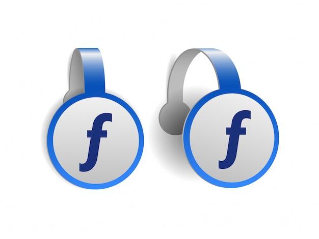 Значок валюты флорин, знак символа математической функции, знак венгерского форинта на синих рекламных воблерах. символ денежной единицы. векторная иллюстрация на белом фоне
