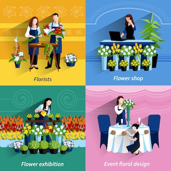 Florist 4 flat icons square composition