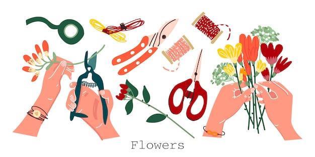 孤立した背景に花屋アクセサリー。手に花束、切り花、はさみ、剪定ばさみ、花のリボン。