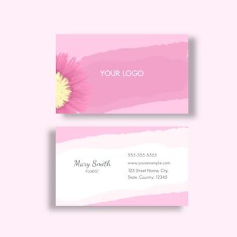 플로리스트 명함 또는 분홍색과 흰색 색상의 가로 템플릿 레이아웃.