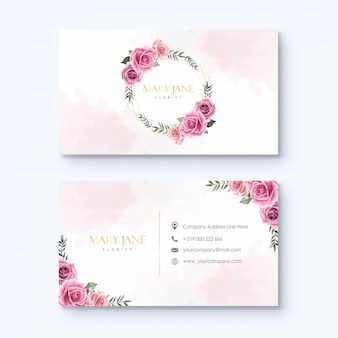 Florist business card template watercolor flowers