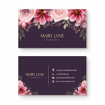 Florist business card template with beautiful watercolor flowers