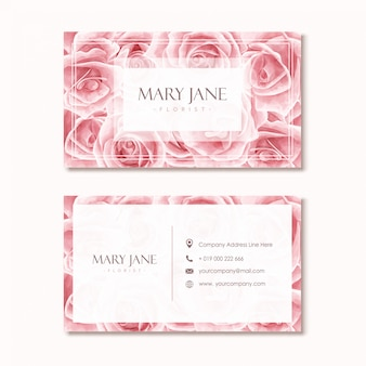 Florist business card template with pink watercolor floral design