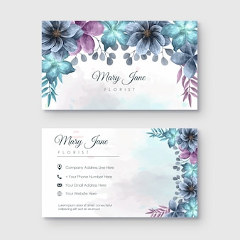 Florist business card with watercolor flower decoration