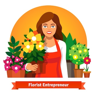 Florist business owner holding a pot of flowers