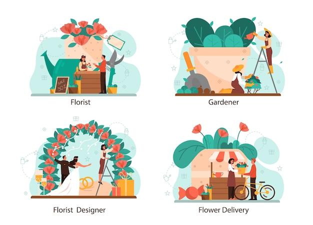 플로리스트 개념을 설정합니다. 꽃 부티크에서 창조적 인 직업. 이벤트 플로리스트 어. 꽃 배달 및 원예. 꽃 사업.