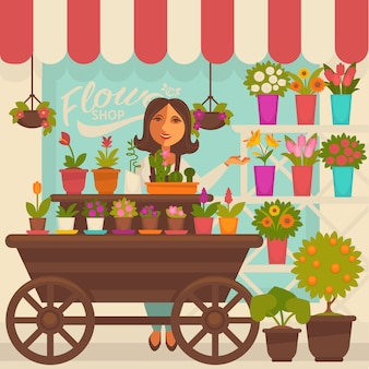 Florist female person near showcase with flowers