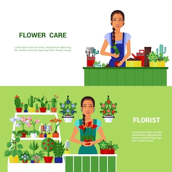 Florist house plants  flat banners set