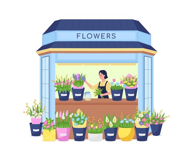 꽃 키오스크 평면 자세한 문자의 플로리스트. 여자는 꽃 배열을 확인합니다. 비즈니스 소유자. 꽃가 게 외관 고립 된 만화