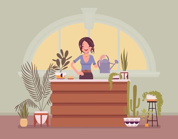 Дама-флорист продает домашние декоративные растения