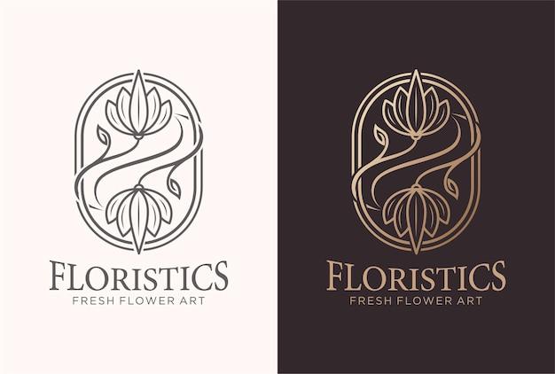 金色の花屋のロゴデザイン。