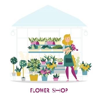 선반과 여성 캐릭터에 꽃이있는 키오스크를 볼 수있는 플로리스트 판매자 꽃 가게 구성
