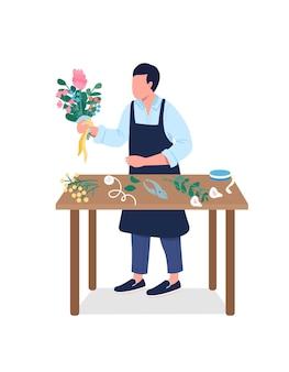 꽃집 세미 플랫 컬러 벡터 문자입니다. 남자는 꽃꽂이를 한다. 흰색에 전신 사람입니다. 그래픽 디자인 및 애니메이션을 위한 꽃 가게 격리된 현대 만화 스타일 그림