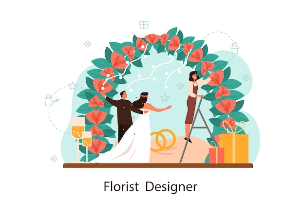 Florists decorating wedding arch with roses. event florist designer. creative occupation, floristic business. isolated vector illustration in flat style