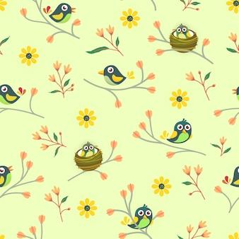 フローラルと鳥のシームレスパターン
