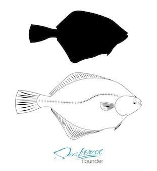 ヒラメの魚のシルエット線形シルエット海の魚アイコンバッジヒラメ魚ベクトル図