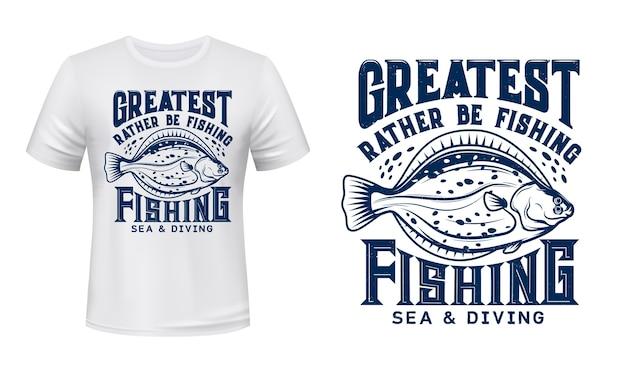 ヒラメのtシャツプリント。ヒラメ、海の海水魚の刻まれたイラストとヴィンテージのタイポグラフィ。
