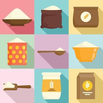 Flour icons set, flat style