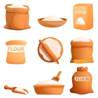 Flour icons set