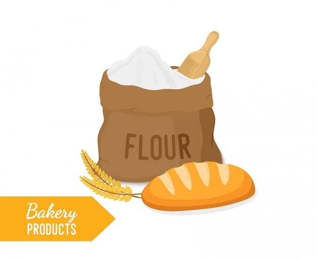 小麦粉の袋、長いパンの袋