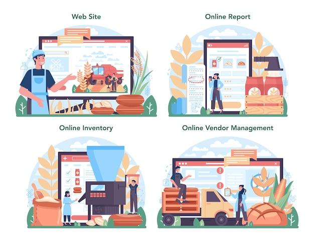 Flour melling industry online service or platform set.