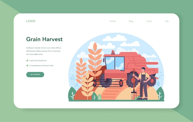 Flour melling industry web banner or landing page. modern grain harvest processing factory. baking and bread making. ground and sift cereals for cooking production. isolated flat illustration