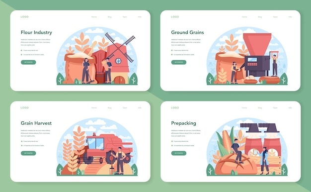 Flour melling industry web banner or landing page set. modern grain harvest processing factory. baking and bread making. ground and sift cereals for cooking production. isolated flat illustration
