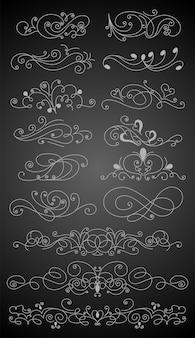 書道のデザイン要素セットを繁栄させます。レイアウトを装飾するためのページ装飾記号。境界要素のアウトライン
