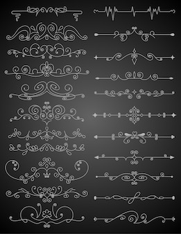 書道のデザイン要素セットを繁栄させます。レイアウトを装飾するためのページ装飾記号。境界要素の輪郭を描きます。