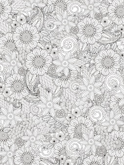 Flourish floral coloring page in exquisite line