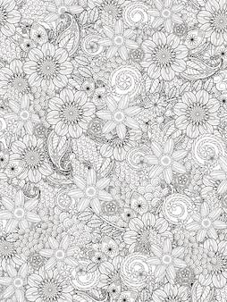 Цветочная цветочная раскраска в изысканной линии
