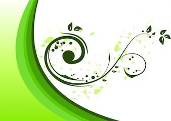 Flourish ornament in green on white