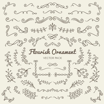 Flourish ornaments calligraphic design elements