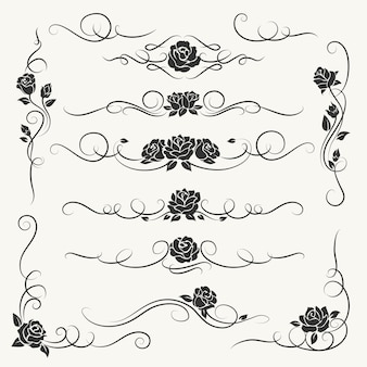 Flourish roses decorative ornaments