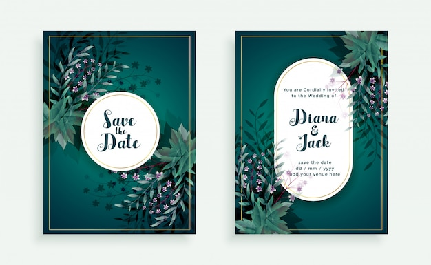 Flourish save the date wedding invitation card template