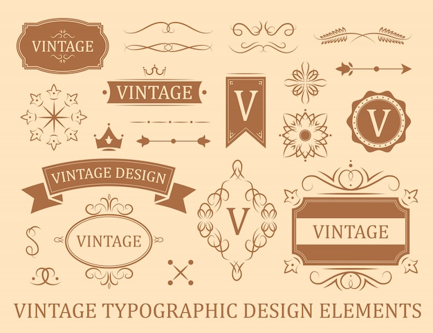 Flourish vintage flat badges set