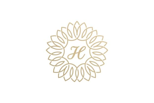 Icona di logo vintage fiorire. stile lineare