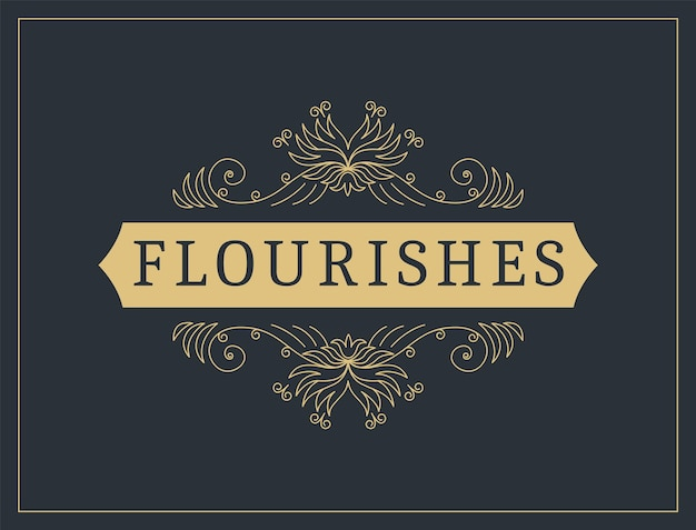 Flourishes calligraphic vintage ornamental background. vector luxury invitation, restaurant menu or royalty certificate. golden ornate page with swirls and vignettes elements.