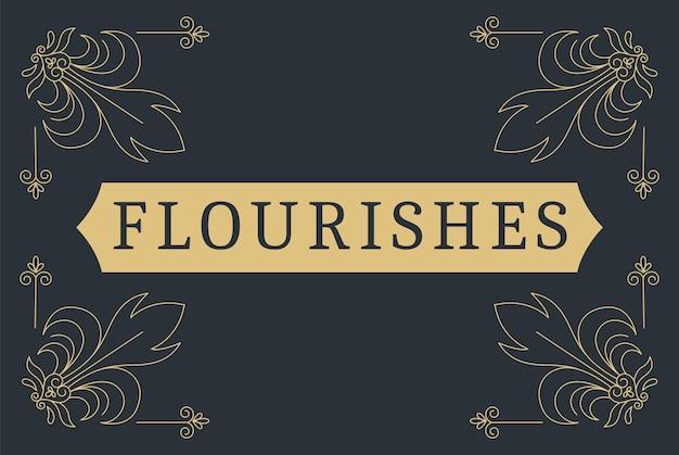 Flourishes calligraphic vintage ornamental background