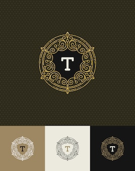 - flourishes glitter gold monogram logo. identity design for cafe, shop, store, restaurant, boutique, hotel, heraldic, fashion and etc.