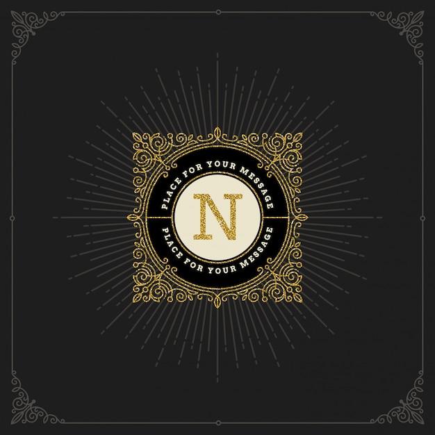 - процветает блестящий золотой монограммный логотип. фирменный дизайн для кафе, магазина, магазина, ресторана, бутика, отеля, геральдика, мода и т. д. Premium векторы