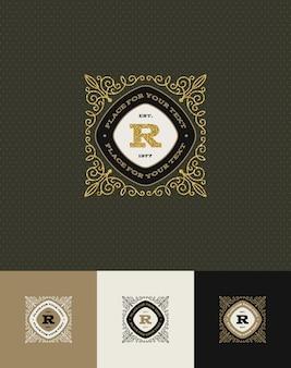 - flourishes glitter gold monogram logo.